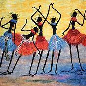 """Картины и панно ручной работы. Ярмарка Мастеров - ручная работа Панно """"Семь африканок"""". Handmade."""