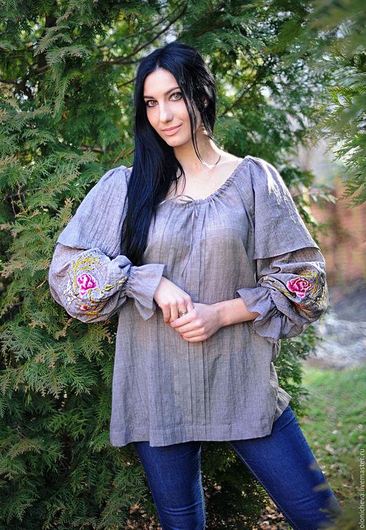 """Блузки ручной работы. Ярмарка Мастеров - ручная работа. Купить Вышитая серая блуза """"Невесомость"""" из тончайшей маркизетовой вуали!. Handmade."""
