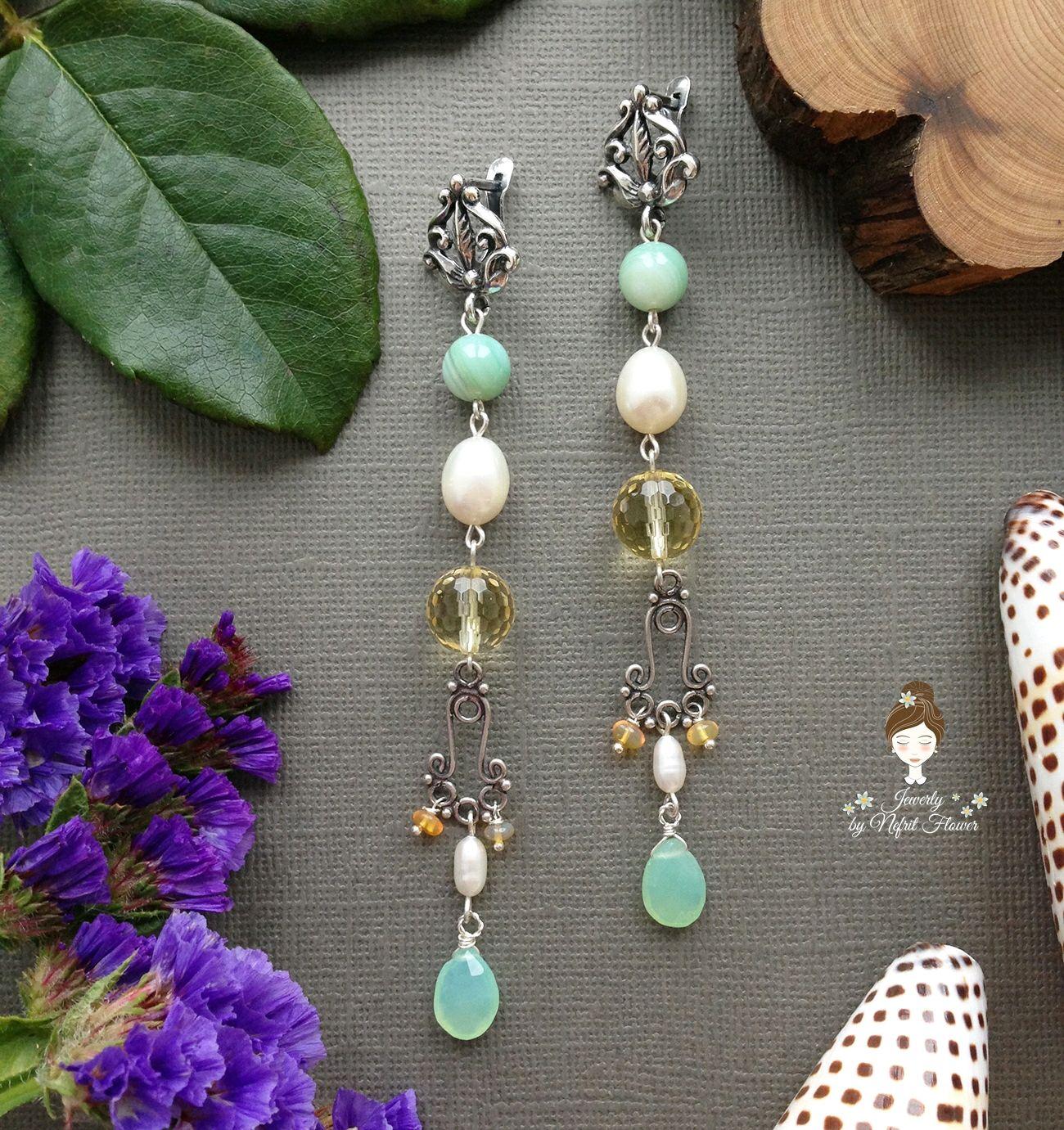 Earrings with opal 'Inspiration' 925 sterling silver green yellow, Earrings, St. Petersburg,  Фото №1