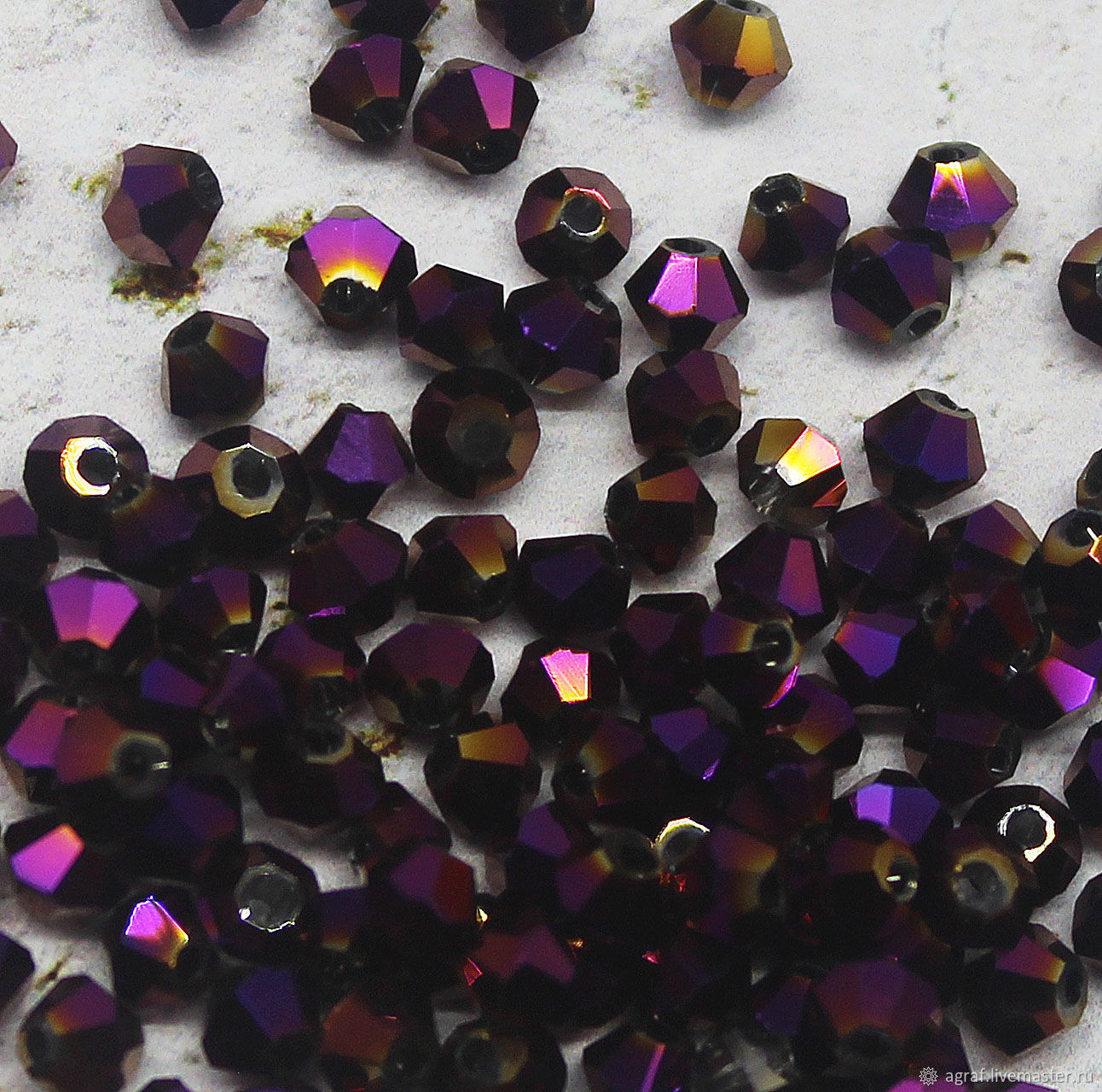 Beacons 3 mm Purple metallic 10 PCs, Beads1, Solikamsk,  Фото №1