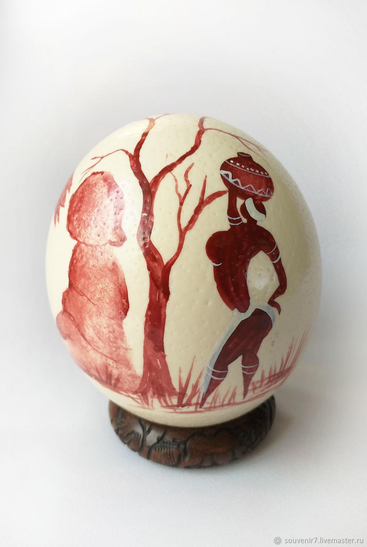 Страусиное яйцо с рисунком. Африканские мотивы, Пасхальные яйца, Воронеж,  Фото №1