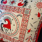 Для дома и интерьера handmade. Livemaster - original item Decorative pillow case in Russian folk style Red horse made of flax. Handmade.