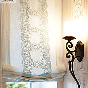 Для дома и интерьера handmade. Livemaster - original item Roman linen curtain with lace. Handmade.