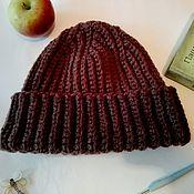Аксессуары ручной работы. Ярмарка Мастеров - ручная работа Шапка бини крючком шоколадная теплая. Handmade.