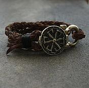 Украшения handmade. Livemaster - original item Leather bracelet Shield. Handmade.
