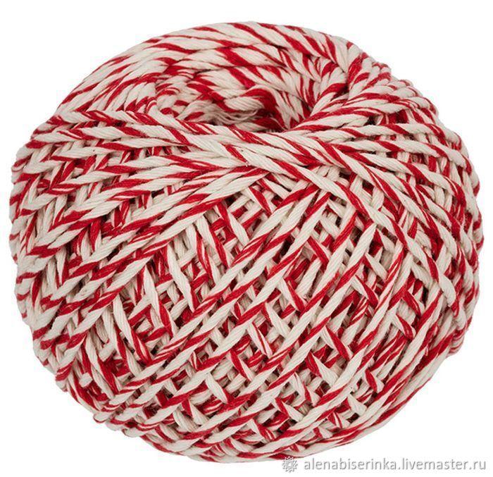 Бело-красный шпагат хлопковый цветной для вязания, макраме и декора, Пряжа, Екатеринбург,  Фото №1