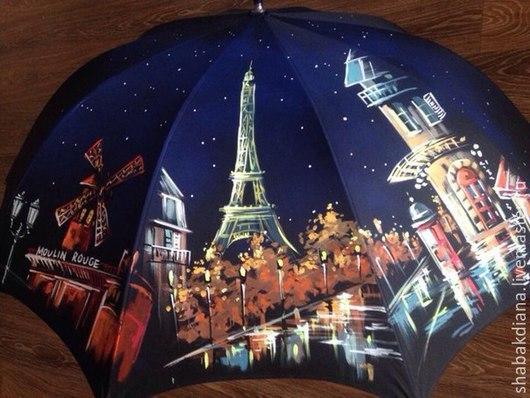 Зонты ручной работы. Ярмарка Мастеров - ручная работа. Купить Зонт с росписью -  Ночной Париж. Handmade. Черный, дождь