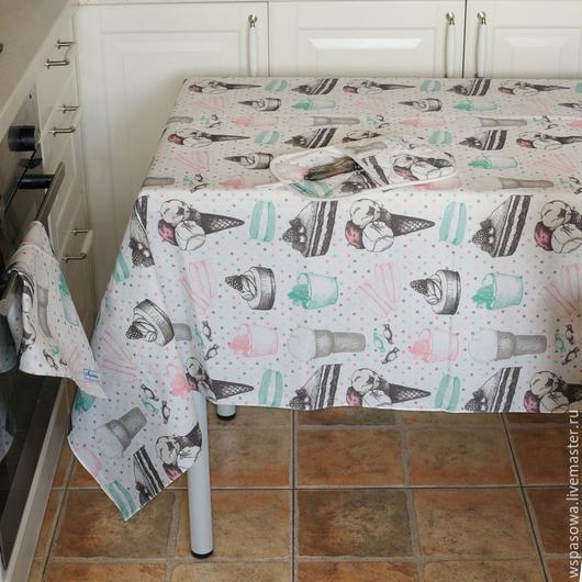 Текстиль, ковры ручной работы. Ярмарка Мастеров - ручная работа. Купить Скатерть Мороженое. Handmade. Голубой, красивая скатерть, мороженое