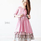 Одежда ручной работы. Ярмарка Мастеров - ручная работа Многослойное платье из льна «Пыльно-розовое». Handmade.
