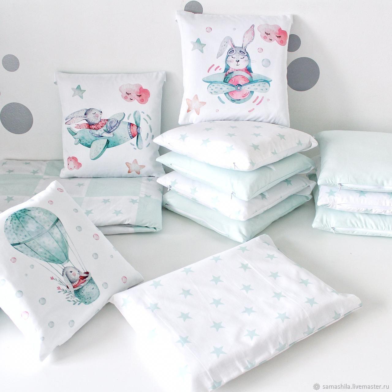 Set in a crib for a newborn 'Bunnies', Linen in the crib, Krasnoyarsk,  Фото №1