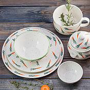 Посуда handmade. Livemaster - original item Carrot set. ceramic handmade. Handmade.