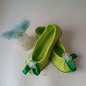 Обувь ручной работы. Ярмарка Мастеров - ручная работа Тапки-балетки -Зеленое яблоко- (детские). Handmade.