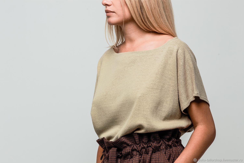 Блуза оверсайз из льняного трикотажа бежевая, Блузки, Москва, Фото №1
