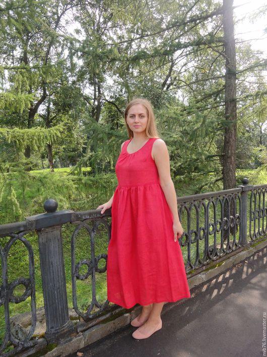 """Платья ручной работы. Ярмарка Мастеров - ручная работа. Купить Платье льняное летнее """"Барышня-крестьянка"""" красное. Handmade."""