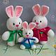 """Игрушки животные, ручной работы. Ярмарка Мастеров - ручная работа. Купить """"Кролики. Счастливое семейство."""" Вязаные игрушки. Handmade."""