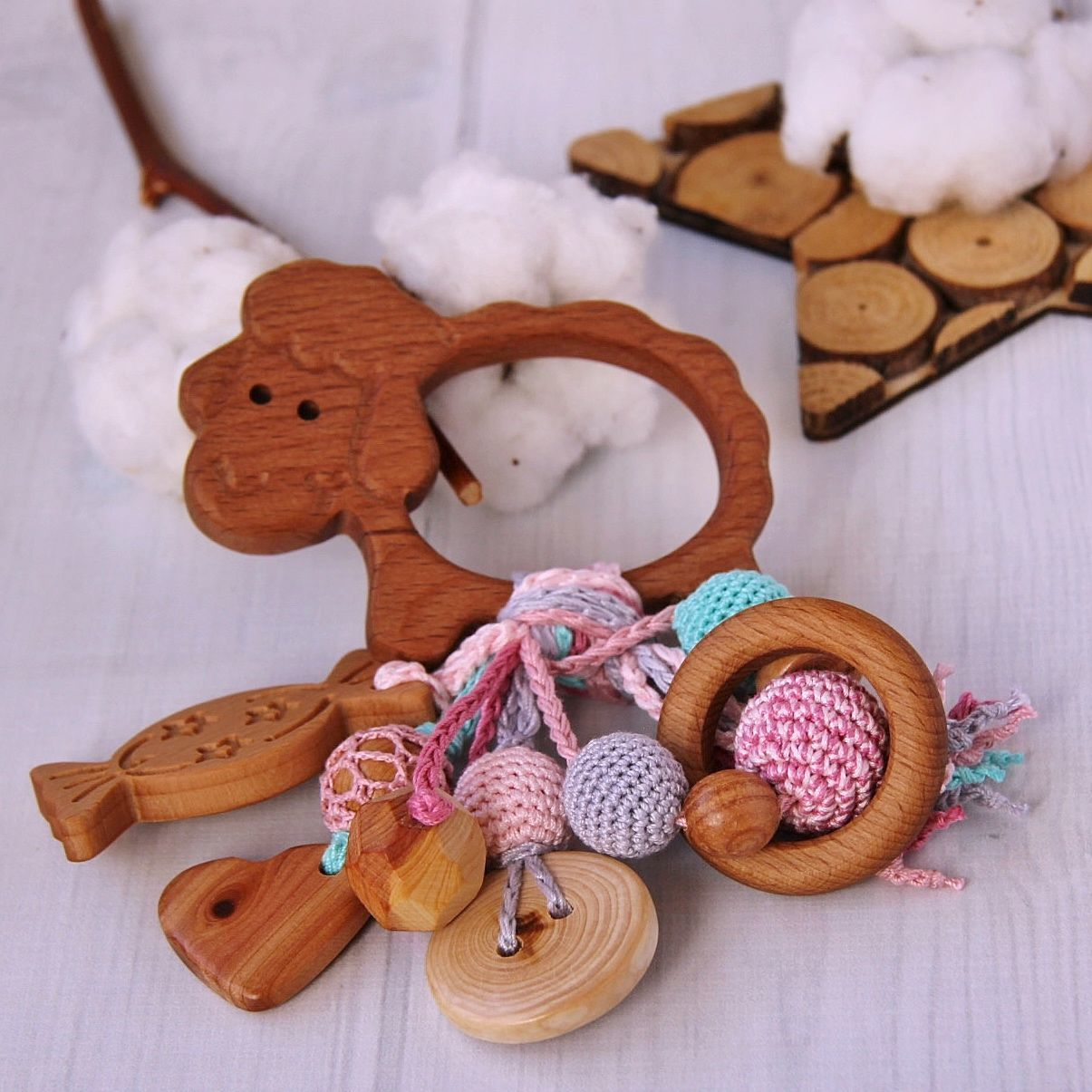 Rattle, rodent for baby juniper eco-friendly Gentle lamb, Teethers and rattles, Moscow,  Фото №1