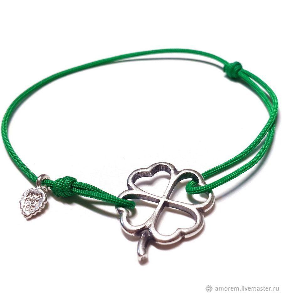 Four leaf Clover charm bracelet on thread, Bead bracelet, Moscow,  Фото №1