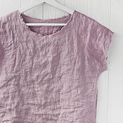 Одежда handmade. Livemaster - original item Dusty pink blouse made of 100% linen. Handmade.