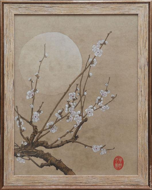 Картины цветов ручной работы. Ярмарка Мастеров - ручная работа. Купить Картина цветущая слива и луна в стиле китайской живописи гунби. Handmade.
