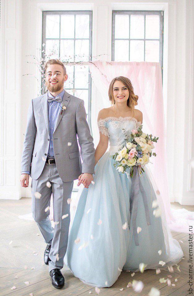 Свадебные платья небесного цвета