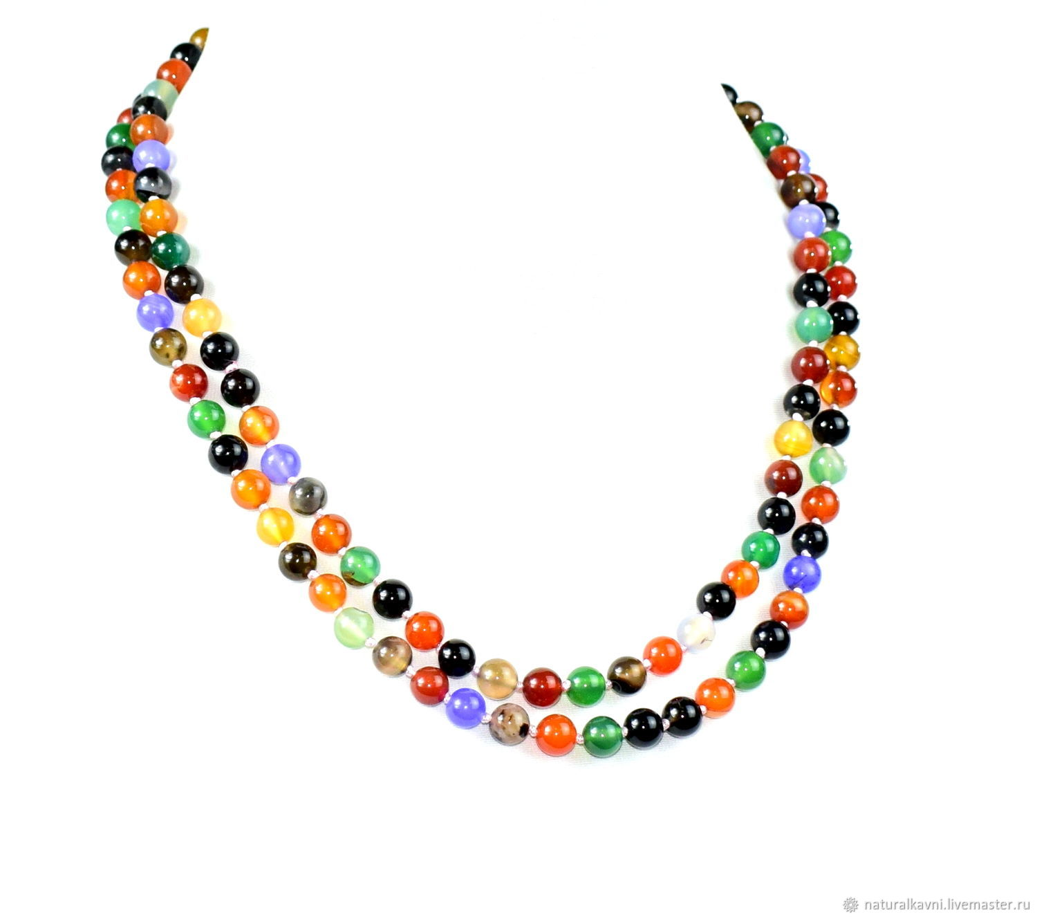 Long colorful beads made of natural agate, Beads2, Moscow,  Фото №1
