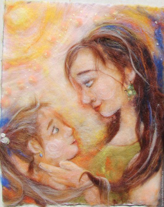 """Люди, ручной работы. Ярмарка Мастеров - ручная работа. Купить Картина из шерсти """"Мамина дочка"""". Handmade. Мама, забота"""
