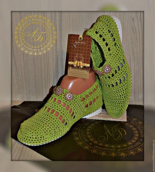 Обувь ручной работы. Ярмарка Мастеров - ручная работа. Купить Слиперы. Handmade. Салатовый, обувь летняя, обувь, сапожки летние
