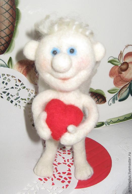 """Человечки ручной работы. Ярмарка Мастеров - ручная работа. Купить """"Ангелочек"""". Handmade. Белый, игрушка из войлока, с юмором"""