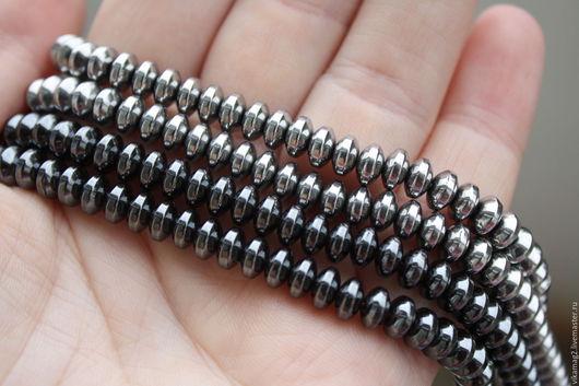 Для украшений ручной работы. Ярмарка Мастеров - ручная работа. Купить Гематит,  рондель 6 мм, цвет черный и серебро. Handmade.