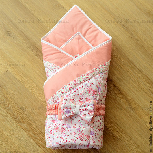 Для новорожденных, ручной работы. Ярмарка Мастеров - ручная работа. Купить Детское одеяло конверт на выписку. Handmade. Розовый