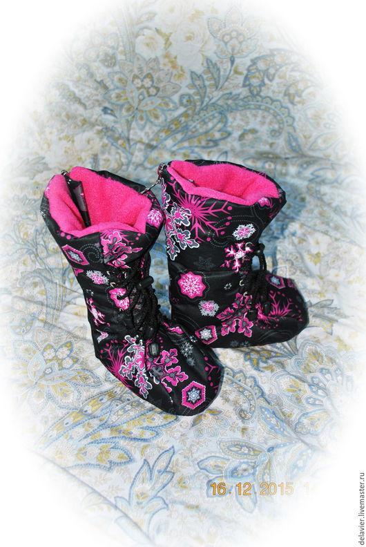 """Детская обувь ручной работы. Ярмарка Мастеров - ручная работа. Купить Пинетки-сапожки """"Зима"""". Handmade. Черный, пинетки для девочки"""