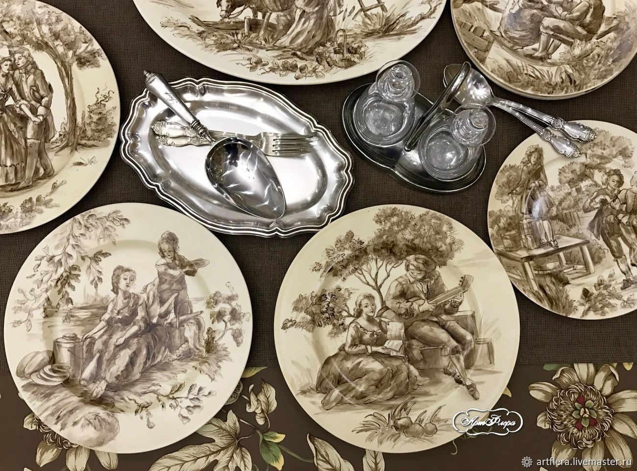 Painted porcelain Collection plates Jouy Sepia brown, Plates, Kazan,  Фото №1