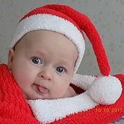 Работы для детей, ручной работы. Ярмарка Мастеров - ручная работа Колпак Санты + плед обмотка для детской новогодней фотосессии. Handmade.