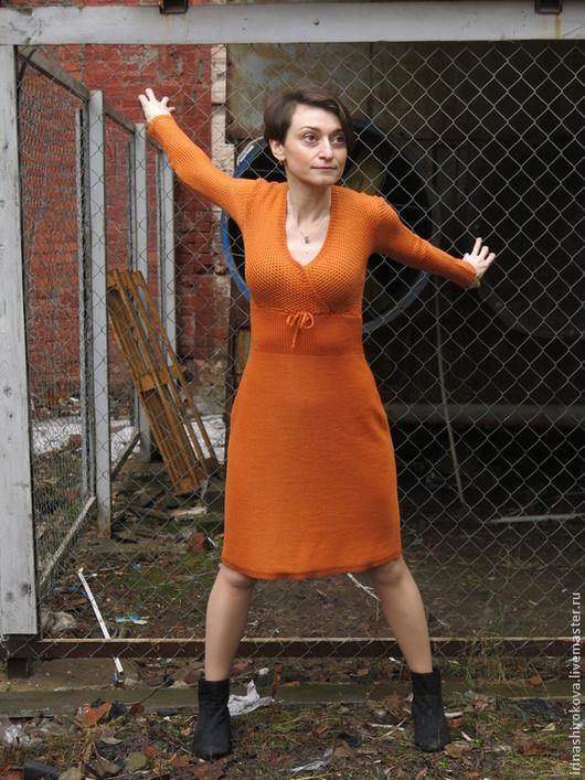 Платья ручной работы. Ярмарка Мастеров - ручная работа. Купить Вязаное платье авторское Глазго. Handmade. Рыжий, повседневное платье