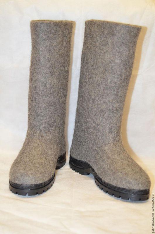 Обувь ручной работы. Ярмарка Мастеров - ручная работа. Купить Валенки мужские. Handmade. Серый, валенки мужские
