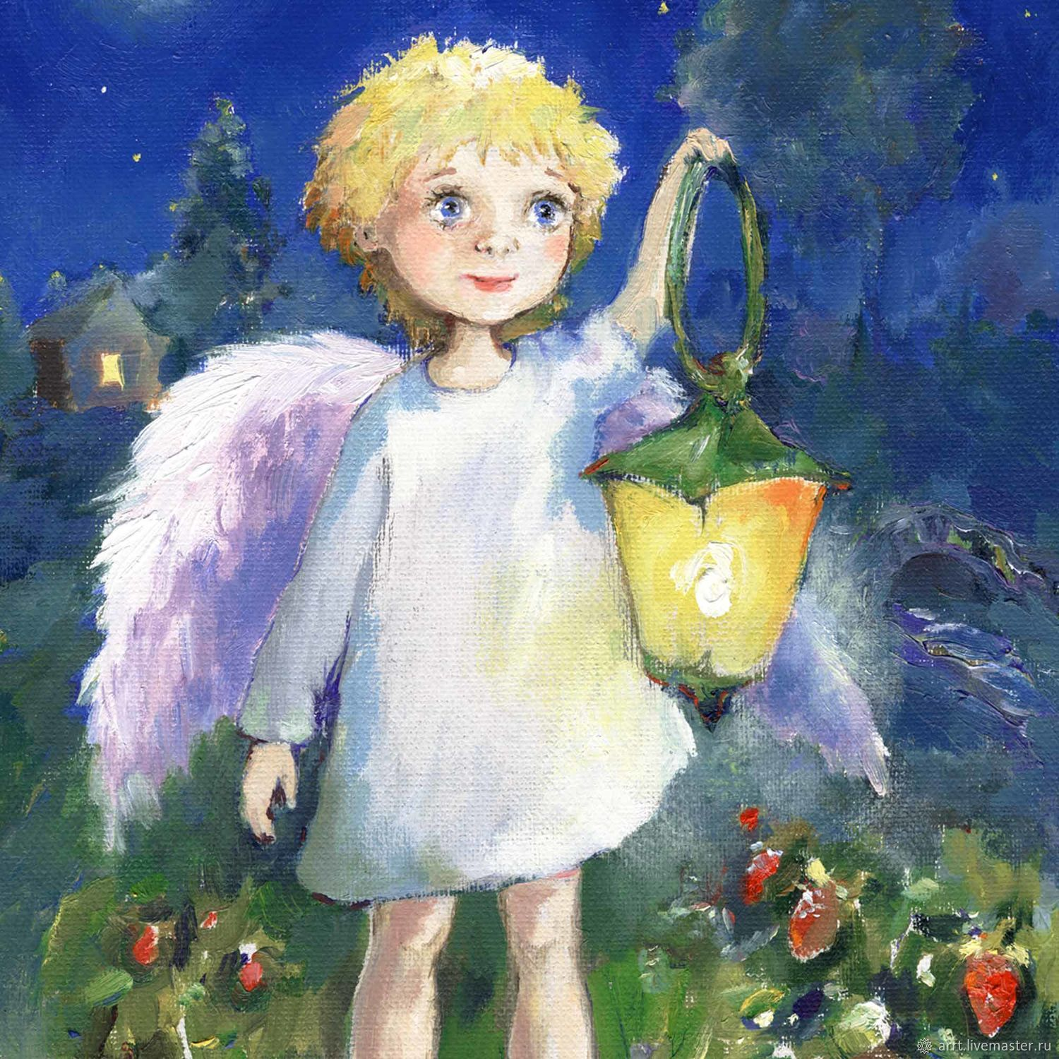Angel with a flashlight and Strawberries Postcard or picture Reproduction, Cards, St. Petersburg,  Фото №1