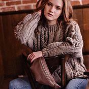 Одежда handmade. Livemaster - original item Pullover: Women`s oversize pullover in dark beige elongated. Handmade.