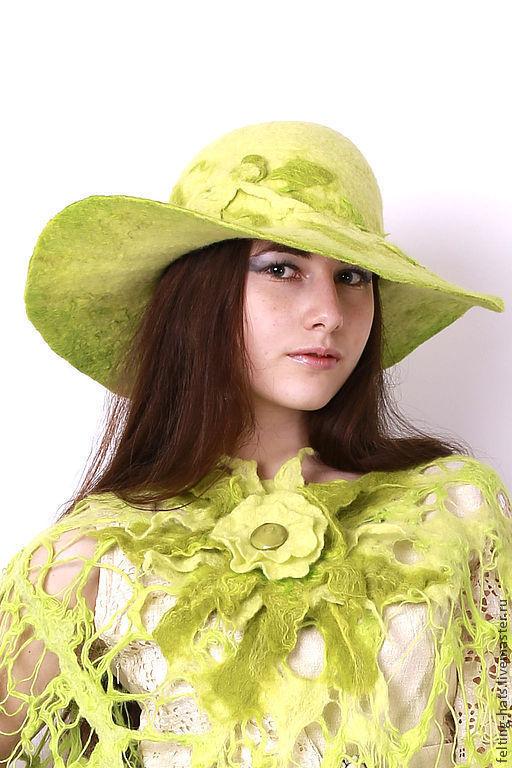 Шляпы ручной работы. Ярмарка Мастеров - ручная работа. Купить Шляпа салатовая Нимфа. Handmade. Ярко-зелёный, головной бор