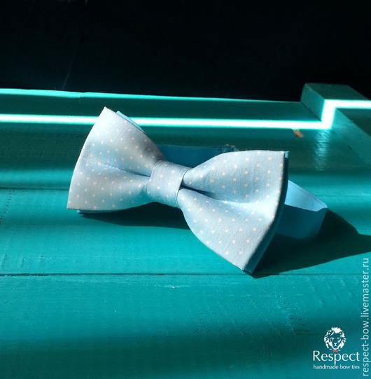 Галстуки, бабочки ручной работы. Ярмарка Мастеров - ручная работа. Купить Галстук бабочка Небо в крапинку / бабочка-галстук голубая в горошек. Handmade.