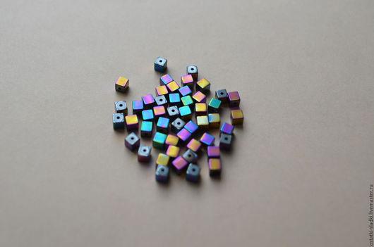 Для украшений ручной работы. Ярмарка Мастеров - ручная работа. Купить 50шт, Гематит, куб, натуральный камень, 3мм, набор. Handmade.