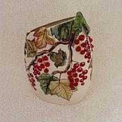 """Для дома и интерьера ручной работы. Ярмарка Мастеров - ручная работа Ваза плоская малая """" Смородина"""". Handmade."""