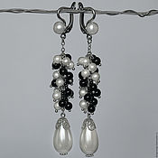 Украшения handmade. Livemaster - original item Long pearl earrings with agate. Handmade.