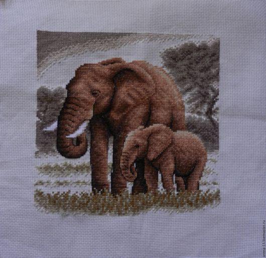 Животные ручной работы. Ярмарка Мастеров - ручная работа. Купить Слоны. Handmade. Кремовый, африка, бежевый, aida №14gamma