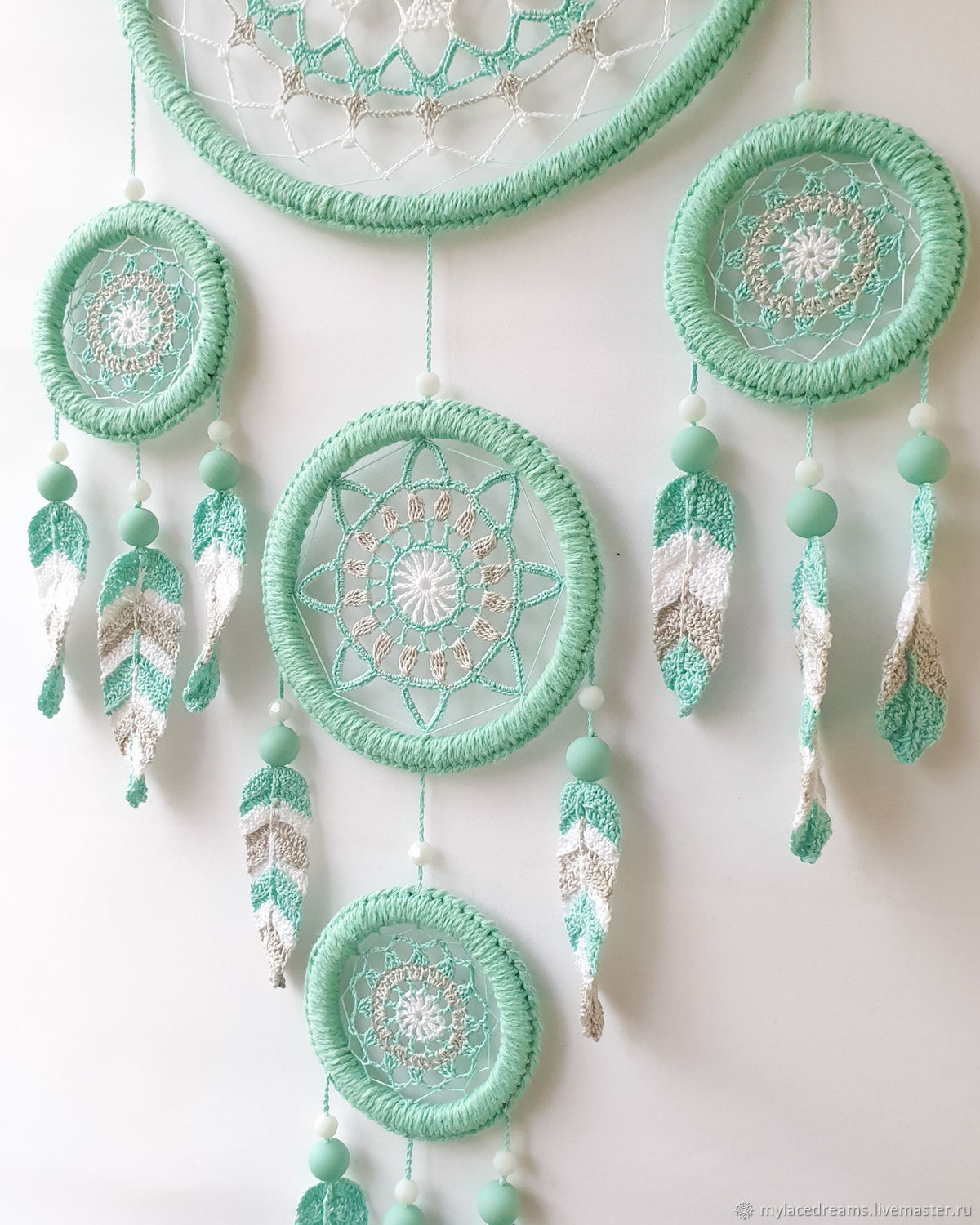 Large mint dream catcher with crocheted feathers, Dream catchers, St. Petersburg,  Фото №1
