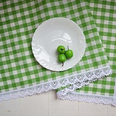 Для дома и интерьера ручной работы. Ярмарка Мастеров - ручная работа Скатерть-раннер с белым кружевом, дорожка-скатерть в клеточку. Handmade.