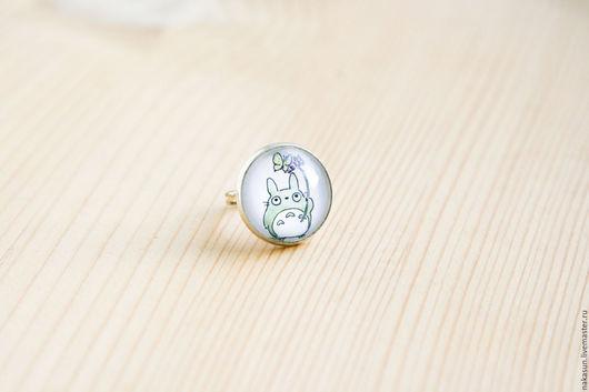 Кольца ручной работы. Ярмарка Мастеров - ручная работа. Купить Кольцо Тоторо с бабочкой. Handmade. Тоторо, гибли, япония, серый