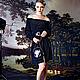"""Платья ручной работы. Шелковое платье-блузон черное """"Итальянская ночь"""". JULINA. Интернет-магазин Ярмарка Мастеров. Шелк натуральный"""