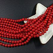 нить Коралл натуральный красный бусина 6 мм (арт. 2961)