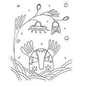 """Открытки ручной работы. Ярмарка Мастеров - ручная работа Открытка - раскраска """"Прятки"""". Handmade."""