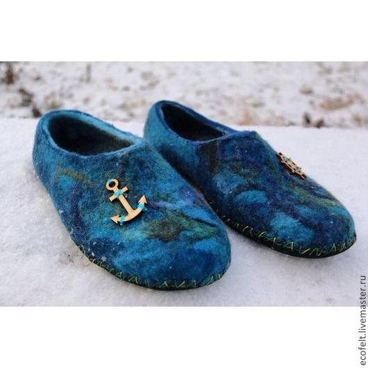 Обувь ручной работы. Ярмарка Мастеров - ручная работа. Купить Тапочки - Морской волк. Handmade. Подарок, подарок на любой случай